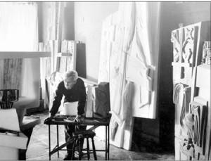 Vytautas Jonynas at work in his studio.
