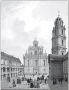 Great Courtyard of Vilnius University (from Album Wilenski by Jan Kazimierz Wilczinski, 1850). British professors, among them Scottish philosopher John Hay SJ, taught at the university during the seventeenth century.