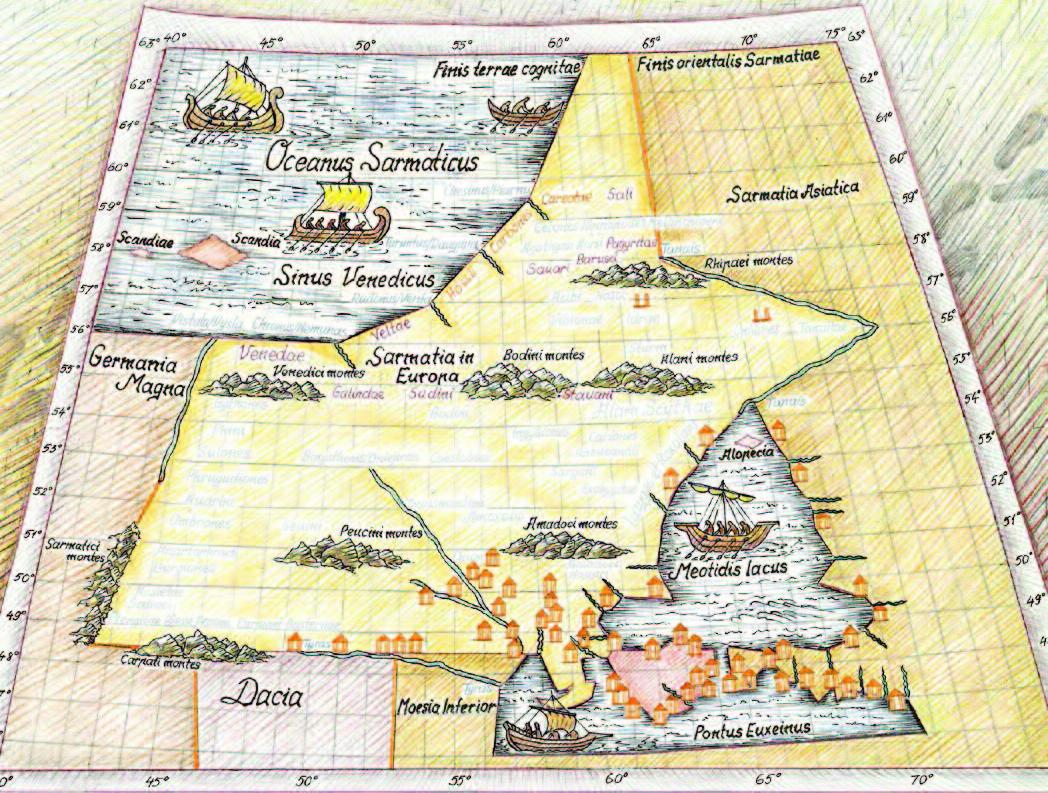 Ptolemy's map of Sarmatia, second century A.D.