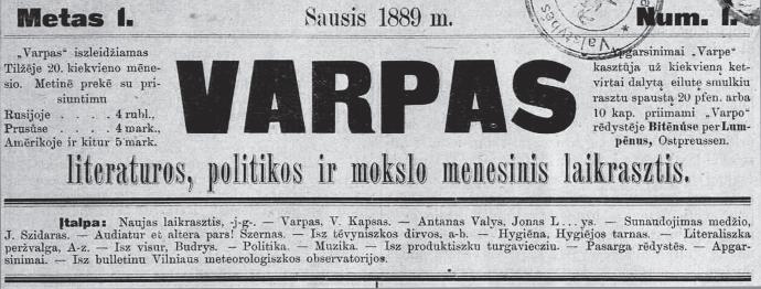 The masthead of the first issue of Varpas, January 1889. (epaveldas.lt)