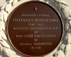 Plaque on the Koščiuška Monument at West Point.