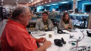 WFMB-AM radio host Sam (Simonavitch) Madonia getting ready to interview Augustinas and Aistė Žemaitis.