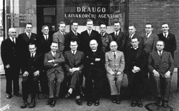Draugas editors and staff on November 9, 1939. (First row, from left): Br. Jonas Peldžius, Ignas Sakalas, Leonardas Šimutis, Rev. J. Marčiulionis, Petras Tumasonis, Rev. Juozas Dambrauskas, Br. Stanislovas Montvydas; (Second row): Br. Juozas Apšeiga, Antanas Skirius, Br. Jonas Seibutis, Jonas Pilipauskas, Pranas Juška, Mikas Pavalonis, Jonas Kulikauskas, Kazimieras Boguslovas, Br. Vincas Žvingilas.