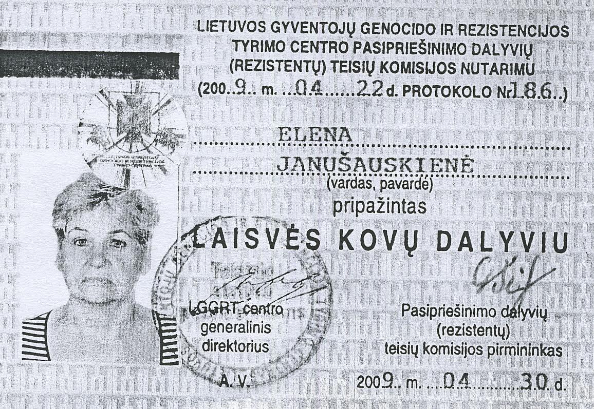 Elenos Janušauskienės pažymėjimas.