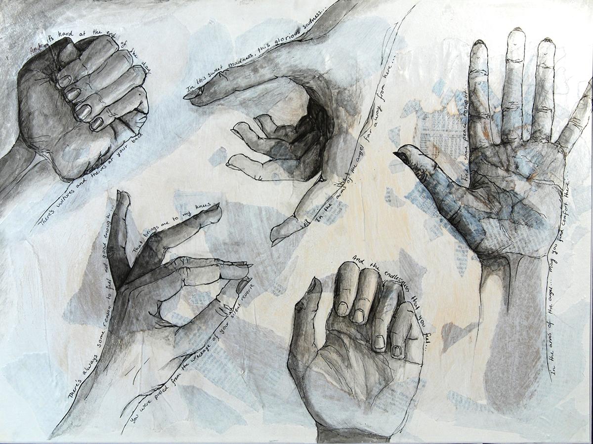 """""""Hands, mixed media""""."""