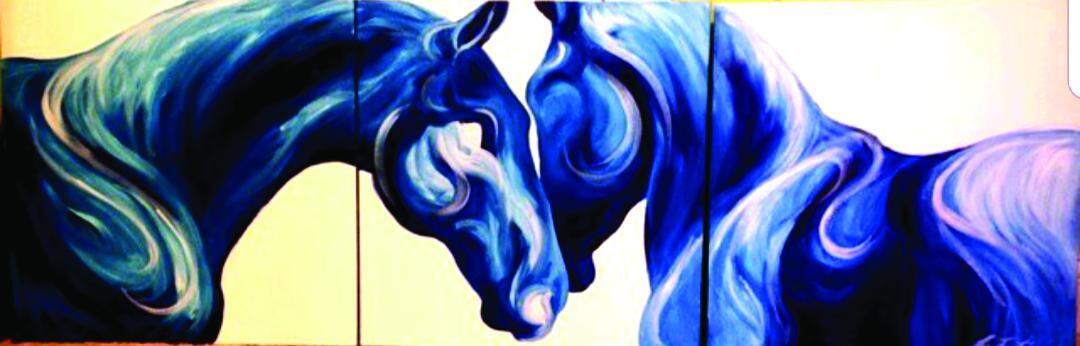 Žirgai Eglės širdyje ir piešiniuose.
