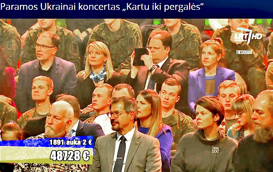 Marijus Gudynas dalyvauja akcijos, skirtos paremti Donecke kovojantiems Ukrainos kariams, tiesioginėje transliacijoje per Lietuvos televiziją.
