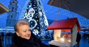 Kalėdų belaukiant… Prezidentė Katedros aikštėje, prie vienos gražiausių Europos eglių.