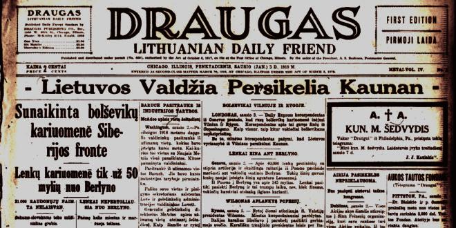 """1919 m. """"Draugas""""."""